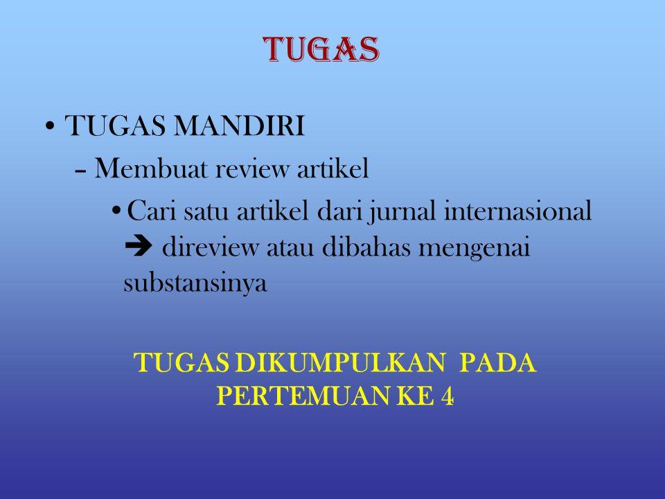 TUGAS MANDIRI –Membuat review artikel Cari satu artikel dari jurnal internasional  direview atau dibahas mengenai substansinya TUGAS TUGAS DIKUMPULKAN PADA PERTEMUAN KE 4