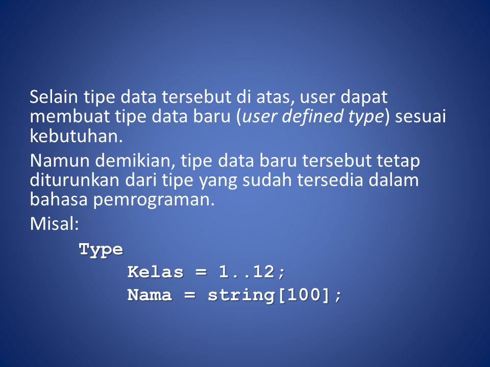 Selain tipe data tersebut di atas, user dapat membuat tipe data baru (user defined type) sesuai kebutuhan. Namun demikian, tipe data baru tersebut tet