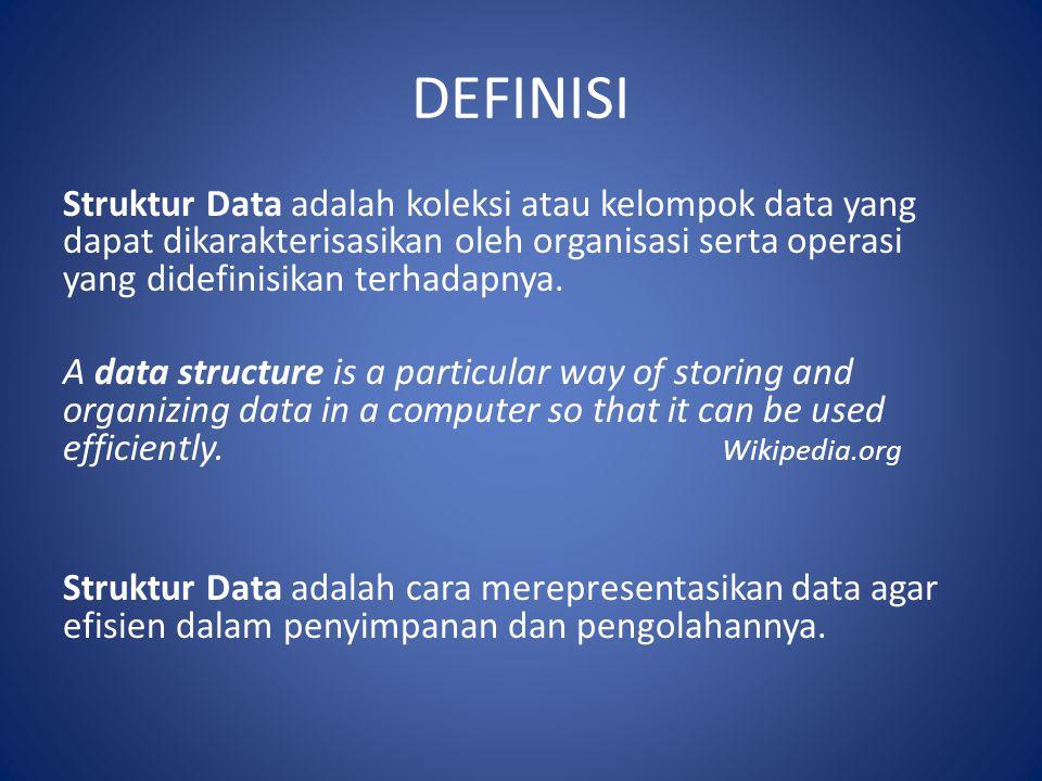 DEFINISI Struktur Data adalah koleksi atau kelompok data yang dapat dikarakterisasikan oleh organisasi serta operasi yang didefinisikan terhadapnya.
