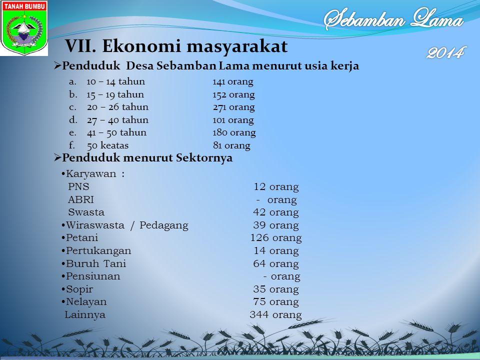 VII. Ekonomi masyarakat  Penduduk Desa Sebamban Lama menurut usia kerja a.10 – 14 tahun 141 orang b.15 – 19 tahun152 orang c.20 – 26 tahun271 orang d