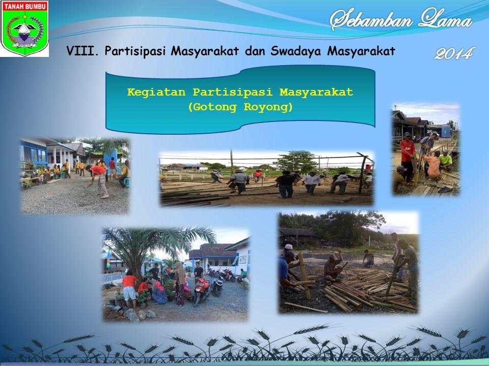 VIII. Partisipasi Masyarakat dan Swadaya Masyarakat Kegiatan Partisipasi Masyarakat (Gotong Royong)