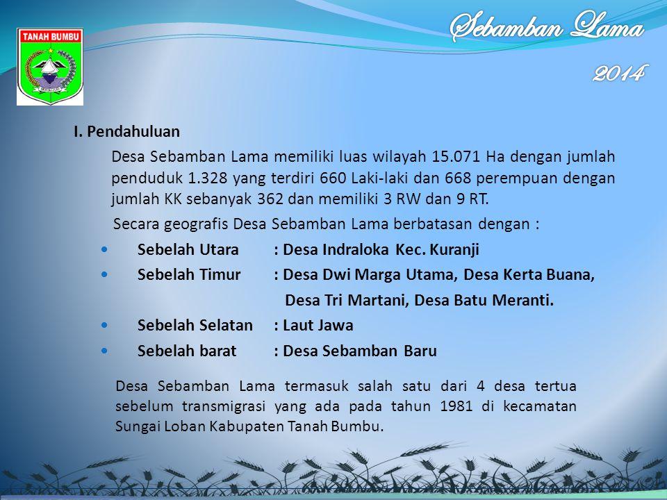 I. Pendahuluan Desa Sebamban Lama memiliki luas wilayah 15.071 Ha dengan jumlah penduduk 1.328 yang terdiri 660 Laki-laki dan 668 perempuan dengan jum