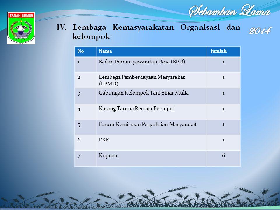IV. Lembaga Kemasyarakatan Organisasi dan kelompok NoNama Jumlah 1Badan Permusyawaratan Desa (BPD)1 2Lembaga Pemberdayaan Masyarakat (LPMD) 1 3Gabunga