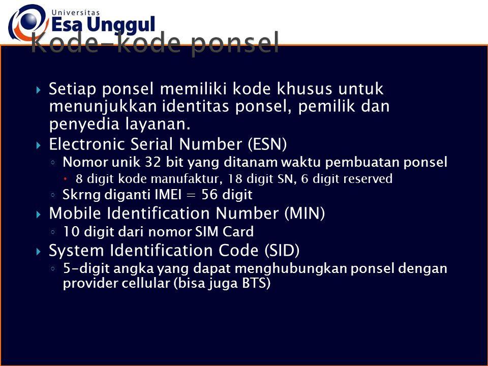  Setiap ponsel memiliki kode khusus untuk menunjukkan identitas ponsel, pemilik dan penyedia layanan.  Electronic Serial Number (ESN) ◦ Nomor unik 3