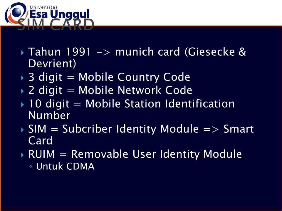  Tahun 1991 -> munich card (Giesecke & Devrient)  3 digit = Mobile Country Code  2 digit = Mobile Network Code  10 digit = Mobile Station Identifi