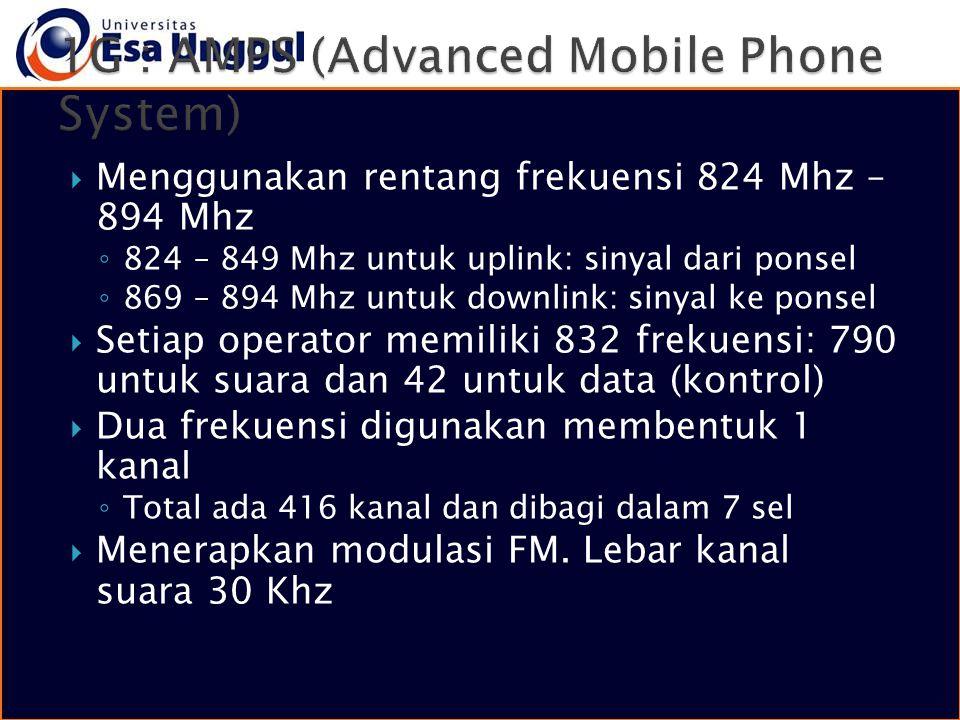  Menggunakan rentang frekuensi 824 Mhz – 894 Mhz ◦ 824 – 849 Mhz untuk uplink: sinyal dari ponsel ◦ 869 – 894 Mhz untuk downlink: sinyal ke ponsel 