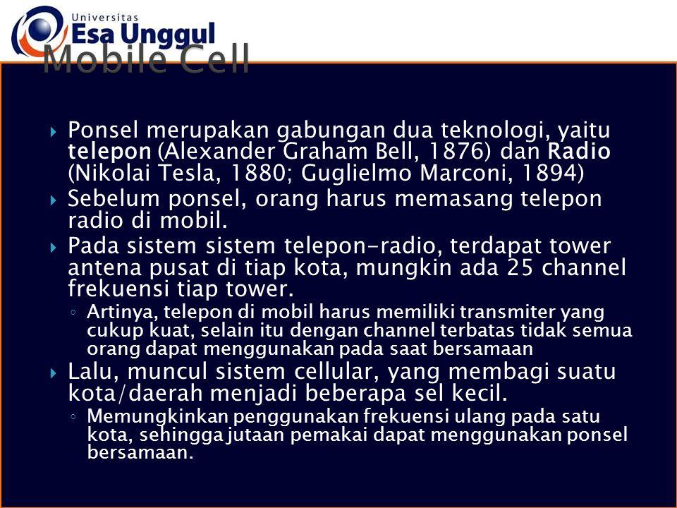  Ponsel merupakan gabungan dua teknologi, yaitu telepon (Alexander Graham Bell, 1876) dan Radio (Nikolai Tesla, 1880; Guglielmo Marconi, 1894)  Sebe
