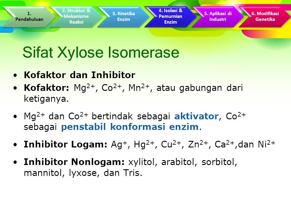 Sifat Xylose Isomerase Kofaktor dan Inhibitor Kofaktor: Mg 2+, Co 2+, Mn 2+, atau gabungan dari ketiganya.