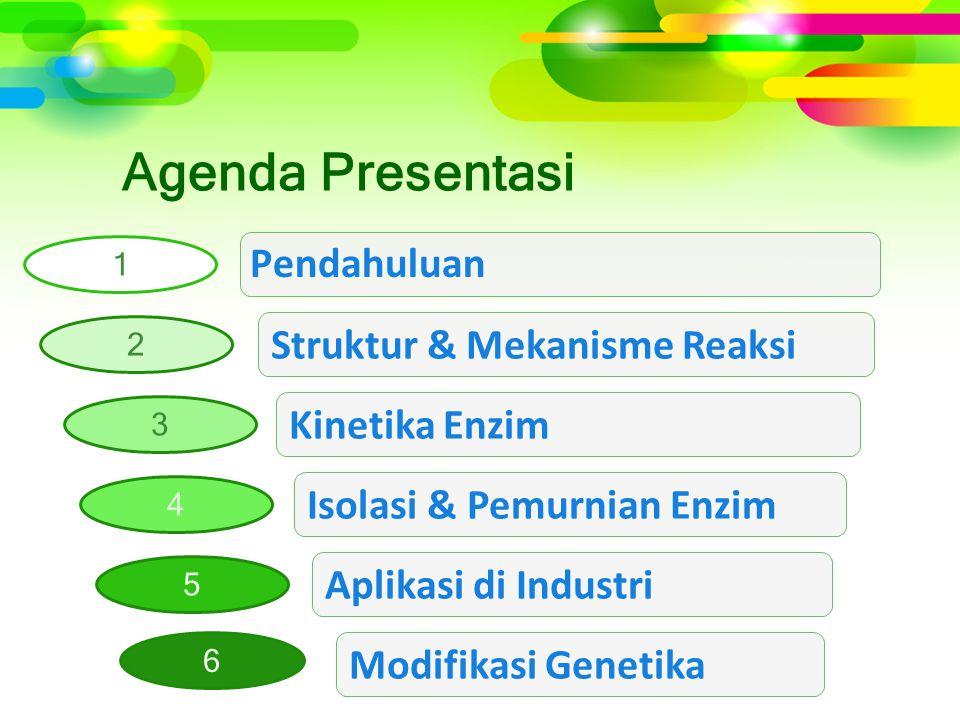 Agenda Presentasi Aplikasi di Industri Struktur & Mekanisme Reaksi Isolasi & Pemurnian Enzim Pendahuluan 1 2 5 3 4 Kinetika Enzim Modifikasi Genetika 6