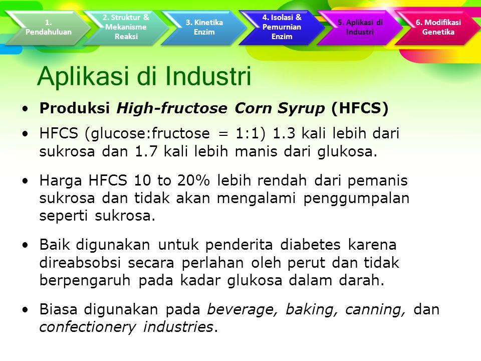 Aplikasi di Industri Produksi High-fructose Corn Syrup (HFCS) HFCS (glucose:fructose = 1:1) 1.3 kali lebih dari sukrosa dan 1.7 kali lebih manis dari glukosa.