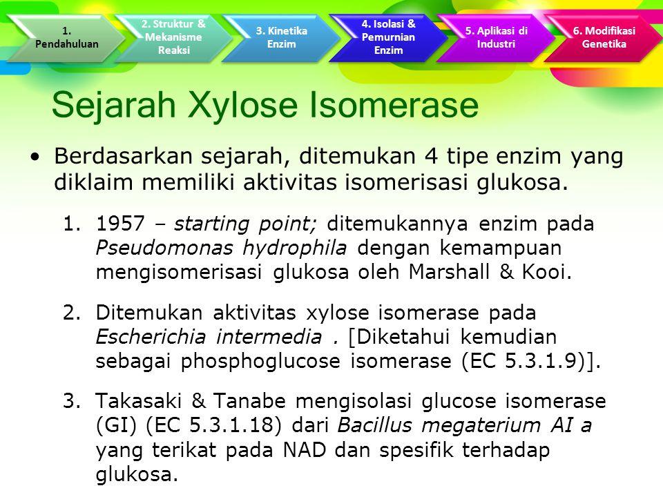 Sejarah Xylose Isomerase Berdasarkan sejarah, ditemukan 4 tipe enzim yang diklaim memiliki aktivitas isomerisasi glukosa.