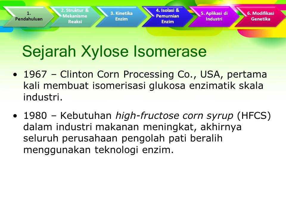 Sejarah Xylose Isomerase 1967 – Clinton Corn Processing Co., USA, pertama kali membuat isomerisasi glukosa enzimatik skala industri.