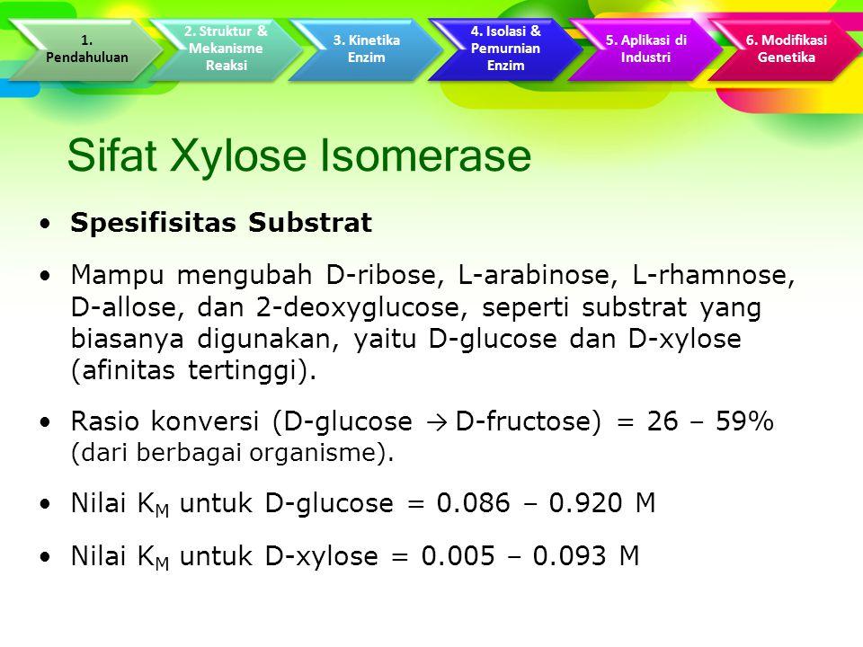 Sifat Xylose Isomerase Spesifisitas Substrat Mampu mengubah D-ribose, L-arabinose, L-rhamnose, D-allose, dan 2-deoxyglucose, seperti substrat yang biasanya digunakan, yaitu D-glucose dan D-xylose (afinitas tertinggi).