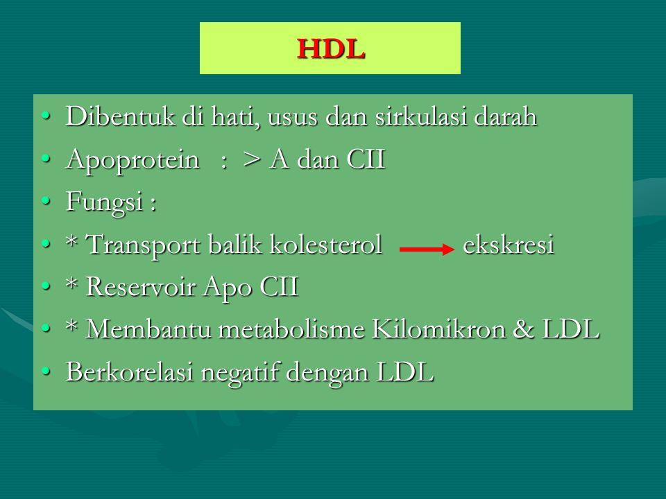 HDL Dibentuk di hati, usus dan sirkulasi darahDibentuk di hati, usus dan sirkulasi darah Apoprotein : > A dan CIIApoprotein : > A dan CII Fungsi :Fung