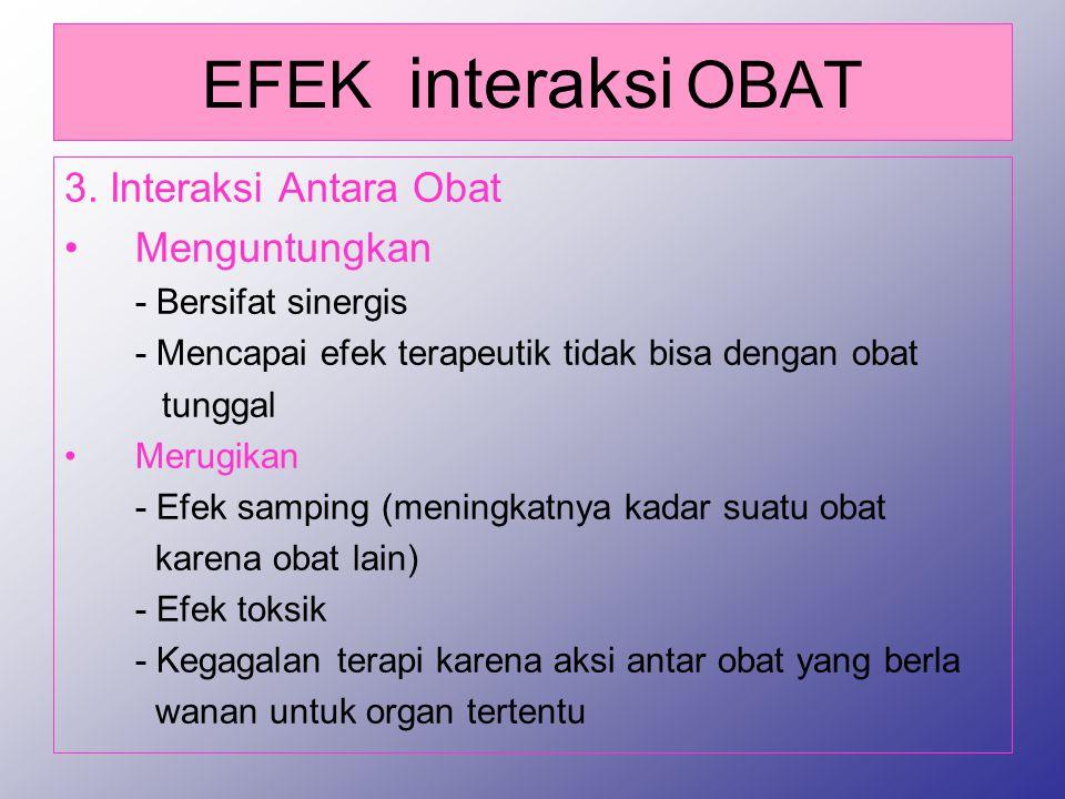EFEK interaksi OBAT 3. Interaksi Antara Obat Menguntungkan - Bersifat sinergis - Mencapai efek terapeutik tidak bisa dengan obat tunggal Merugikan - E