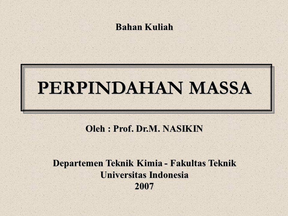 Bahan Kuliah PERPINDAHAN MASSA Oleh : Prof. Dr.M. NASIKIN Departemen Teknik Kimia - Fakultas Teknik Universitas Indonesia 2007