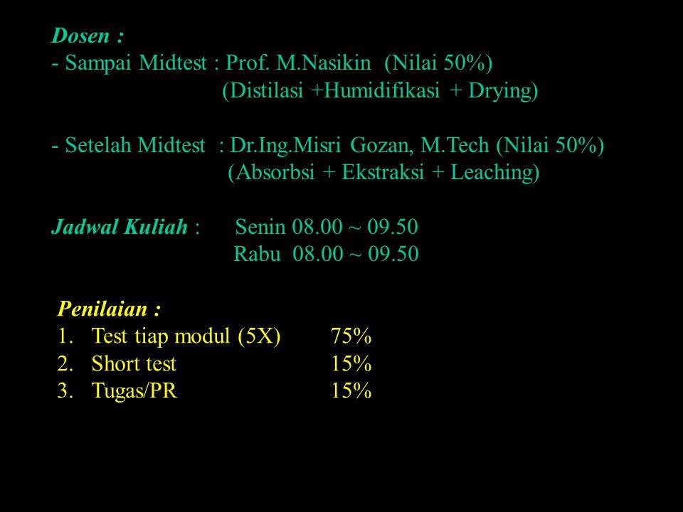 Dosen : - Sampai Midtest : Prof. M.Nasikin (Nilai 50%) (Distilasi +Humidifikasi + Drying) - Setelah Midtest : Dr.Ing.Misri Gozan, M.Tech (Nilai 50%) (