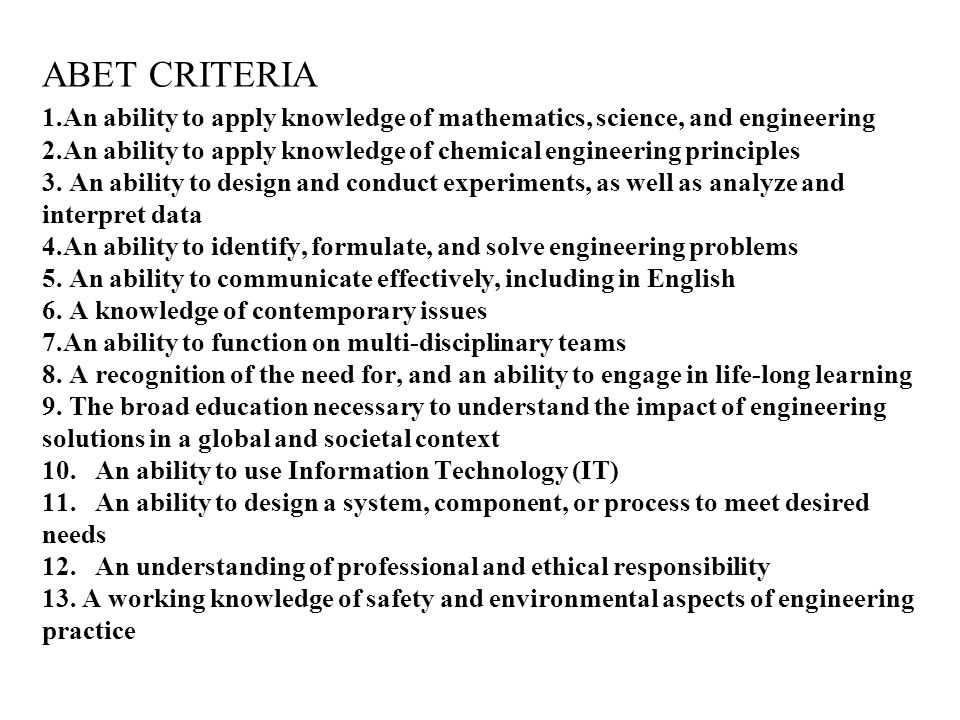 ABET CRITERIA 1.An ability to apply knowledge of mathematics, science, and engineering 2.An ability to apply knowledge of chemical engineering principles 3.