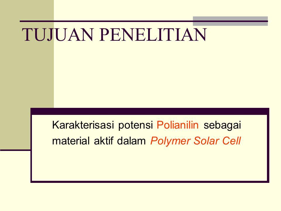 TUJUAN PENELITIAN Karakterisasi potensi Polianilin sebagai material aktif dalam Polymer Solar Cell