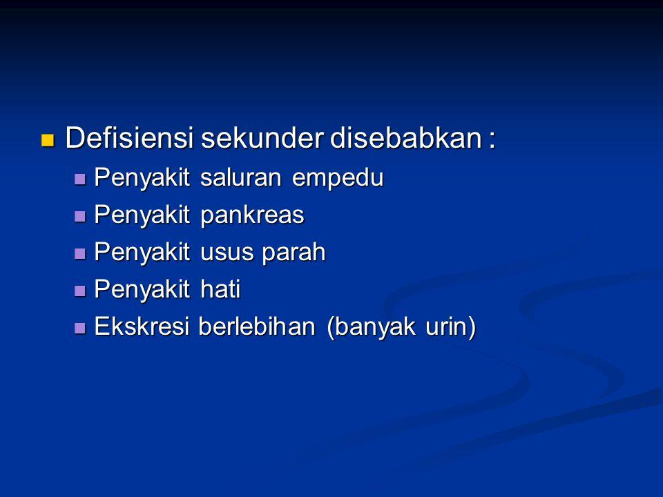 Defisiensi sekunder disebabkan : Defisiensi sekunder disebabkan : Penyakit saluran empedu Penyakit saluran empedu Penyakit pankreas Penyakit pankreas
