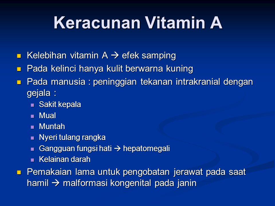 Keracunan Vitamin A Kelebihan vitamin A  efek samping Kelebihan vitamin A  efek samping Pada kelinci hanya kulit berwarna kuning Pada kelinci hanya