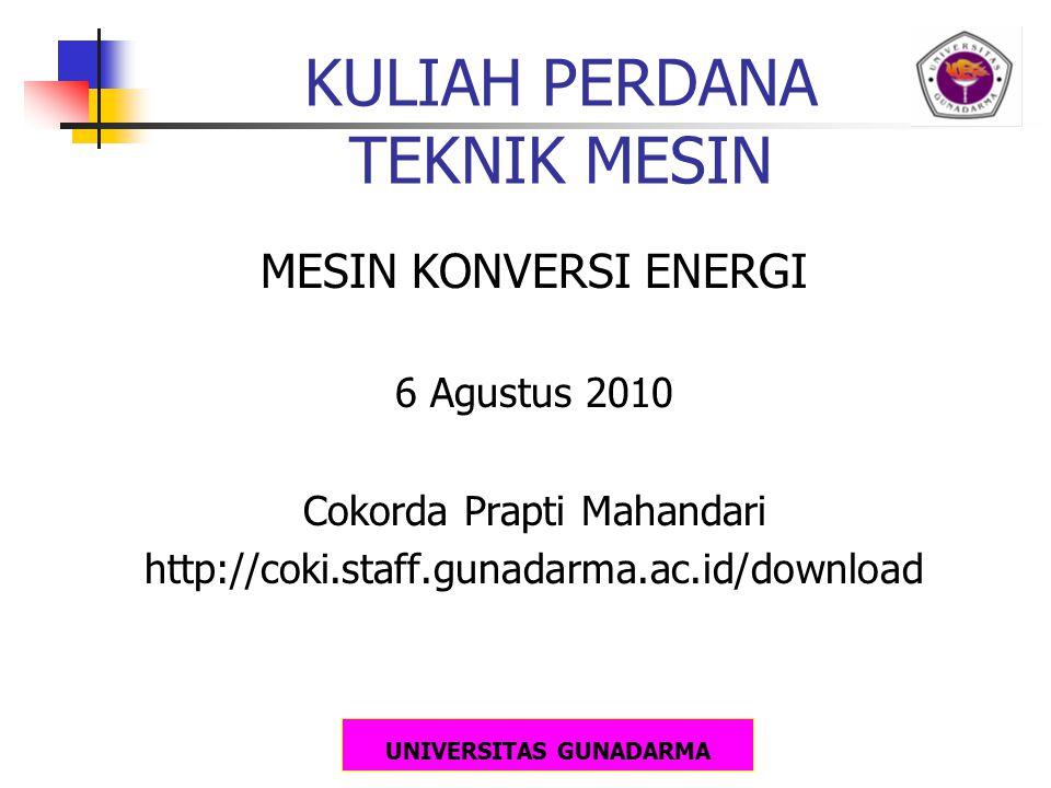 UNIVERSITAS GUNADARMA Sumber Energi dan Konversi Dasarnya Kayu:Kimia  panas, listrik Angin:Kinetik  mekanika, listrik Air:Potensial  kinetik  mekanikal, listrik Batubara: Kimia  panas, listrik Minyak Bumi: Kimia  panas, listrik Gas Alam: Kimia  panas, listrik