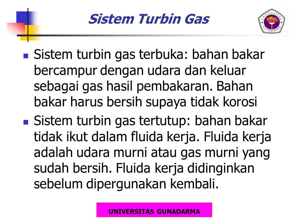 UNIVERSITAS GUNADARMA Sistem Turbin Gas Sistem turbin gas terbuka: bahan bakar bercampur dengan udara dan keluar sebagai gas hasil pembakaran. Bahan b