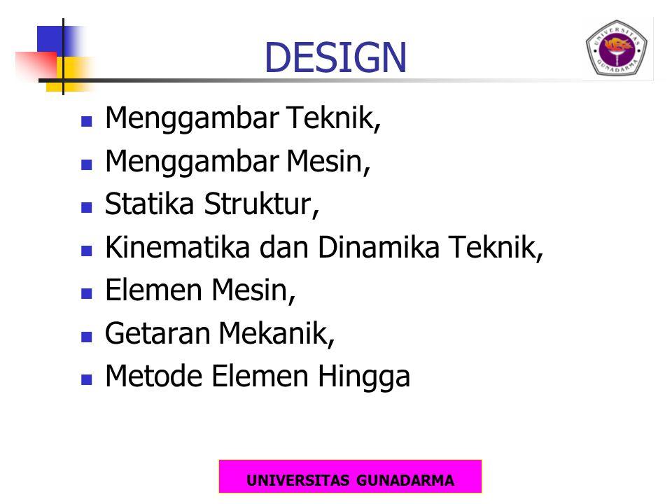 UNIVERSITAS GUNADARMA DESIGN Menggambar Teknik, Menggambar Mesin, Statika Struktur, Kinematika dan Dinamika Teknik, Elemen Mesin, Getaran Mekanik, Met