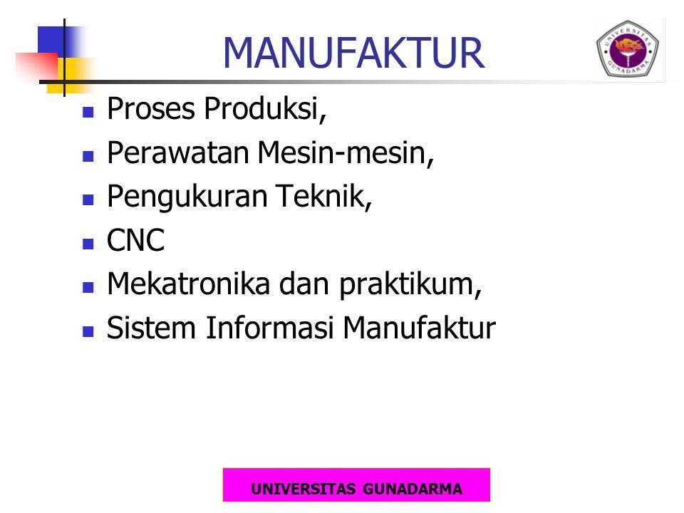 UNIVERSITAS GUNADARMA MANUFAKTUR Proses Produksi, Perawatan Mesin-mesin, Pengukuran Teknik, CNC Mekatronika dan praktikum, Sistem Informasi Manufaktur