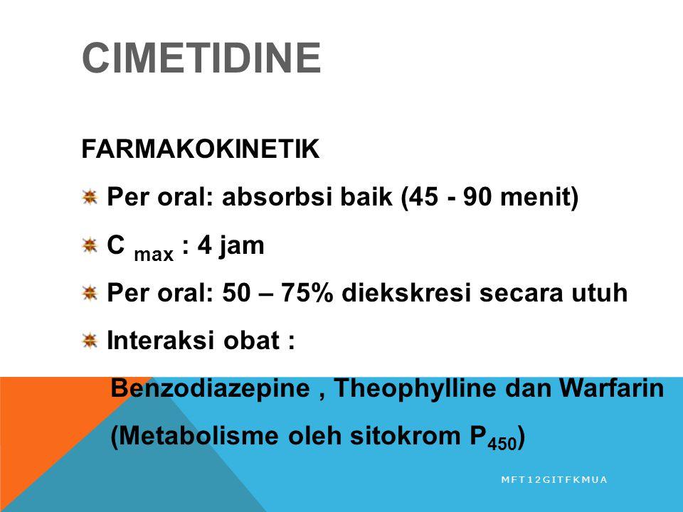 CIMETIDINE FARMAKOKINETIK Per oral: absorbsi baik (45 - 90 menit) C max : 4 jam Per oral: 50 – 75% diekskresi secara utuh Interaksi obat : Benzodiazep