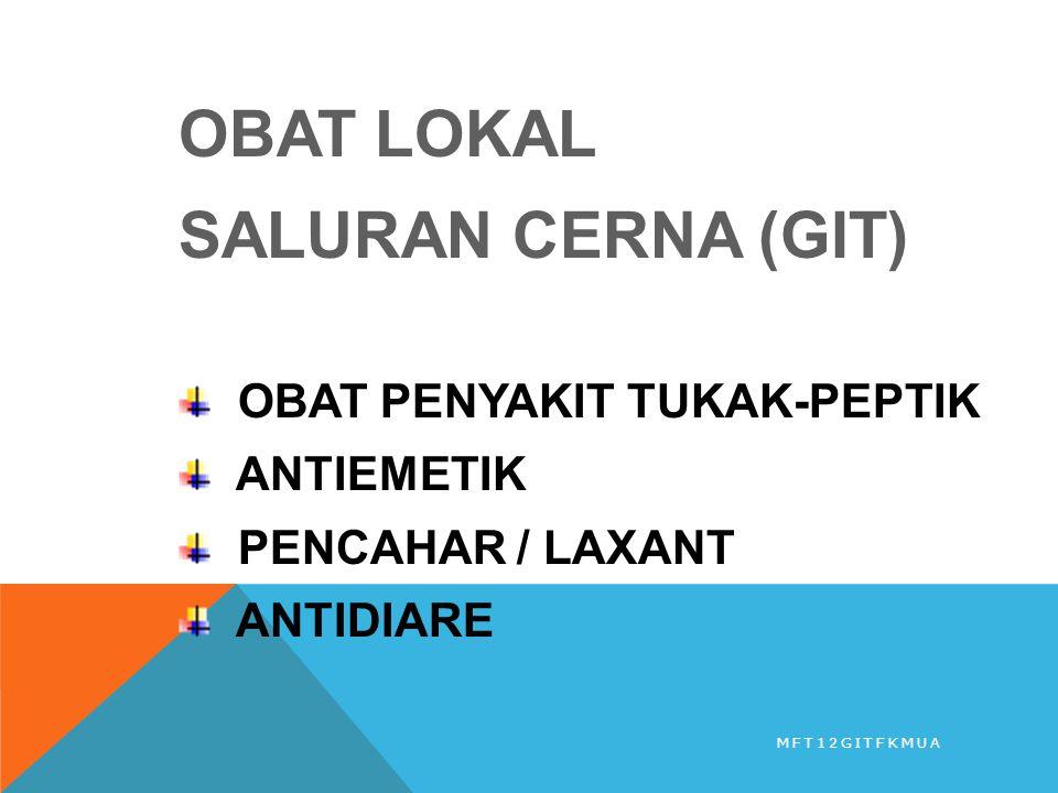 OBAT LOKAL SALURAN CERNA (GIT) OBAT PENYAKIT TUKAK-PEPTIK ANTIEMETIK PENCAHAR / LAXANT ANTIDIARE MFT12GITFKMUA