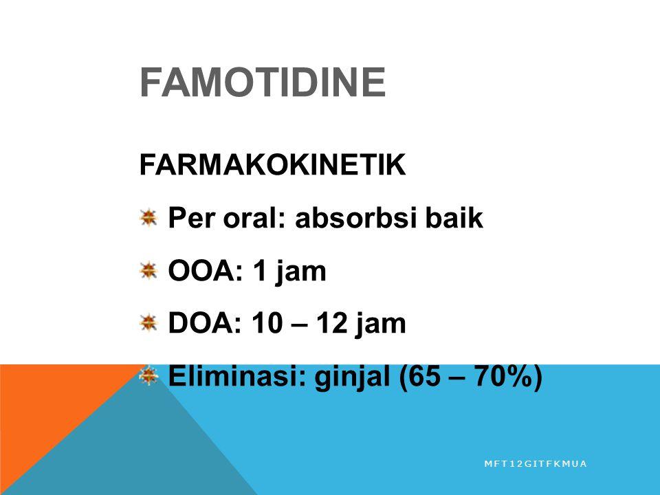 FAMOTIDINE FARMAKOKINETIK Per oral: absorbsi baik OOA: 1 jam DOA: 10 – 12 jam Eliminasi: ginjal (65 – 70%) MFT12GITFKMUA