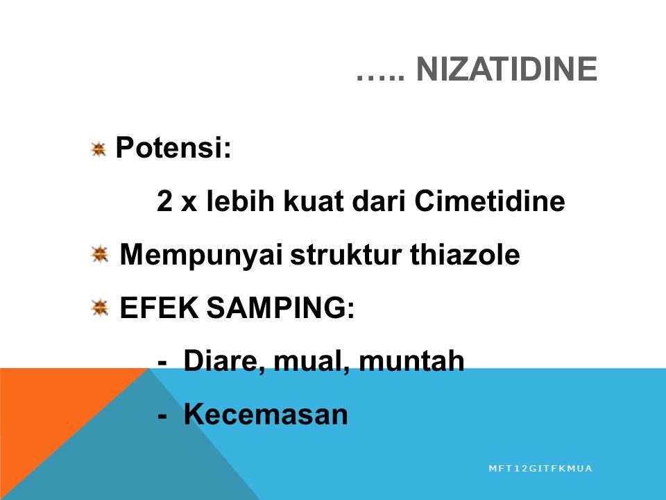 ….. NIZATIDINE Potensi: 2 x lebih kuat dari Cimetidine Mempunyai struktur thiazole EFEK SAMPING: - Diare, mual, muntah - Kecemasan MFT12GITFKMUA