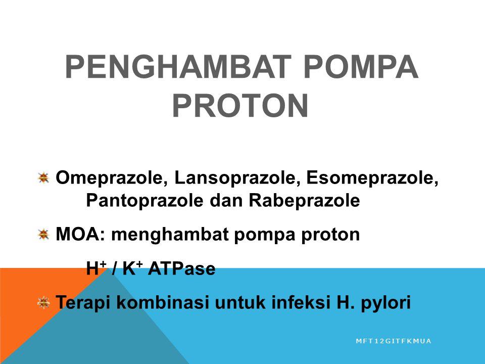 PENGHAMBAT POMPA PROTON Omeprazole, Lansoprazole, Esomeprazole, Pantoprazole dan Rabeprazole MOA: menghambat pompa proton H + / K + ATPase Terapi komb