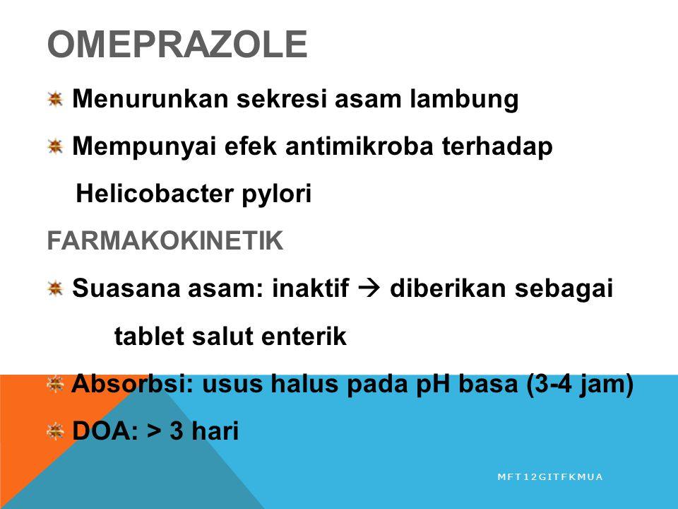 OMEPRAZOLE Menurunkan sekresi asam lambung Mempunyai efek antimikroba terhadap Helicobacter pylori FARMAKOKINETIK Suasana asam: inaktif  diberikan se