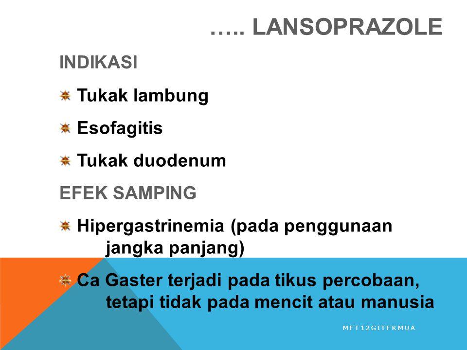 ….. LANSOPRAZOLE INDIKASI Tukak lambung Esofagitis Tukak duodenum EFEK SAMPING Hipergastrinemia (pada penggunaan jangka panjang) Ca Gaster terjadi pad