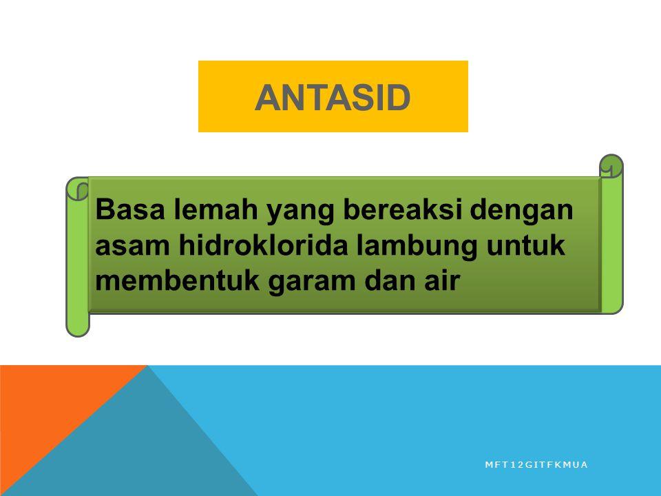 ANTASID MFT12GITFKMUA Basa lemah yang bereaksi dengan asam hidroklorida lambung untuk membentuk garam dan air