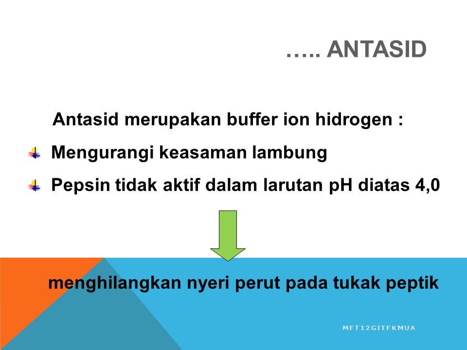 ….. ANTASID Antasid merupakan buffer ion hidrogen : Mengurangi keasaman lambung Pepsin tidak aktif dalam larutan pH diatas 4,0 menghilangkan nyeri per