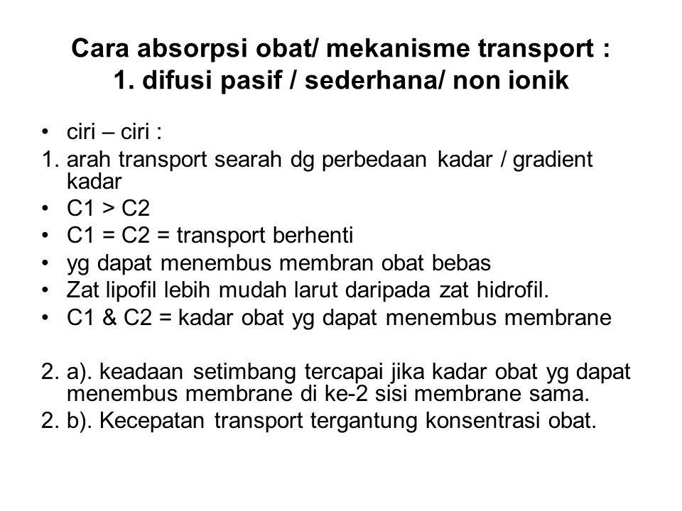 Cara absorpsi obat/ mekanisme transport : 1. difusi pasif / sederhana/ non ionik ciri – ciri : 1.arah transport searah dg perbedaan kadar / gradient k