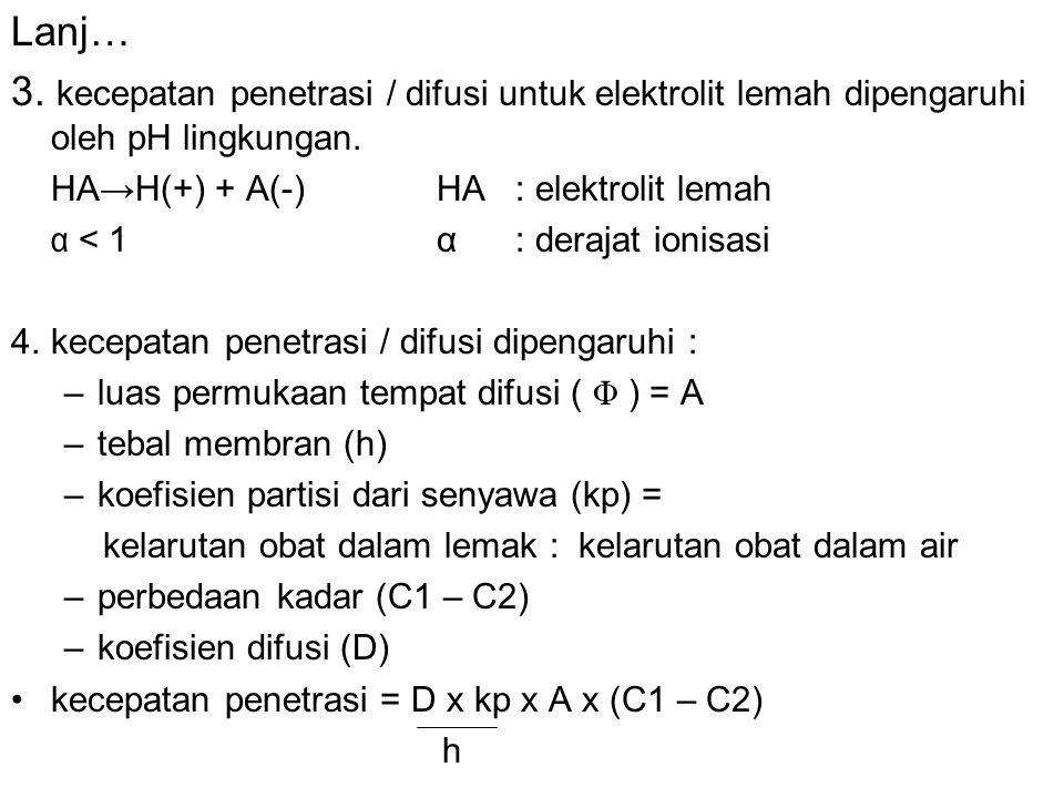 Lanj… 3. kecepatan penetrasi / difusi untuk elektrolit lemah dipengaruhi oleh pH lingkungan. HA→H(+) + A(-)HA : elektrolit lemah α < 1α : derajat ioni