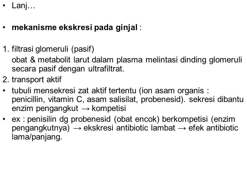 Lanj… mekanisme ekskresi pada ginjal : 1. filtrasi glomeruli (pasif) obat & metabolit larut dalam plasma melintasi dinding glomeruli secara pasif deng