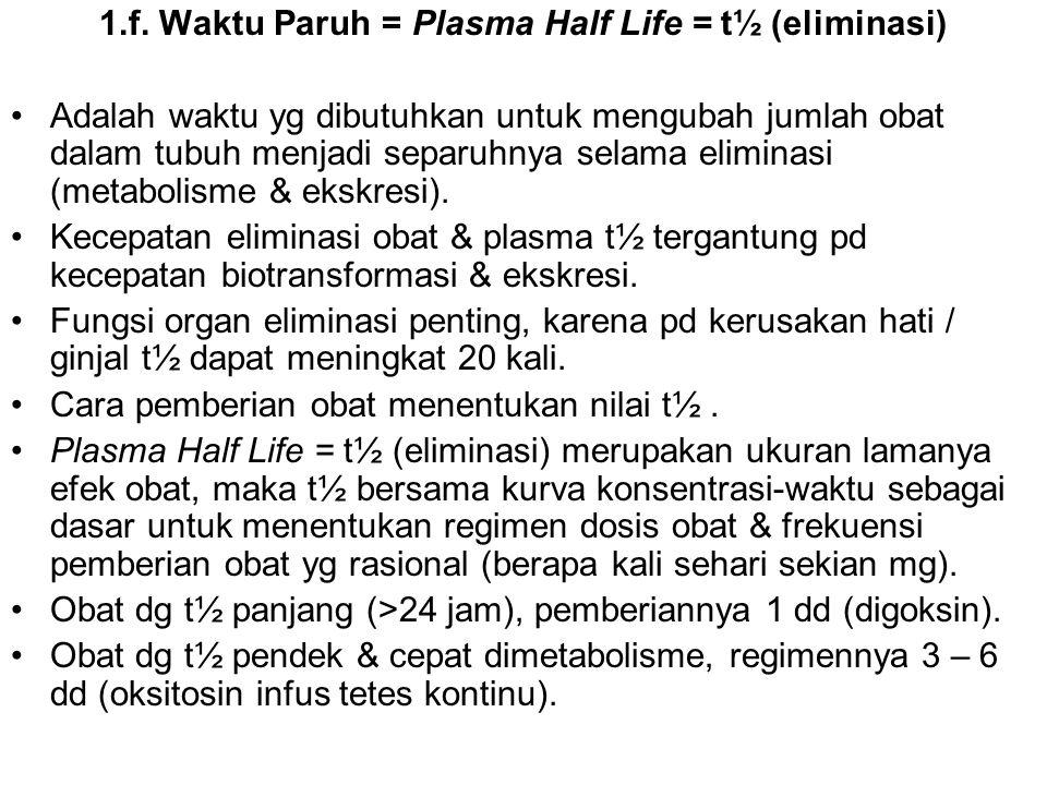 1.f. Waktu Paruh = Plasma Half Life = t½ (eliminasi) Adalah waktu yg dibutuhkan untuk mengubah jumlah obat dalam tubuh menjadi separuhnya selama elimi