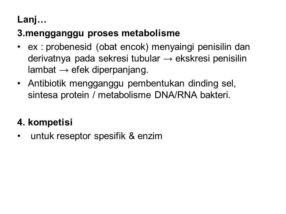 Lanj… 3.mengganggu proses metabolisme ex : probenesid (obat encok) menyaingi penisilin dan derivatnya pada sekresi tubular → ekskresi penisilin lambat