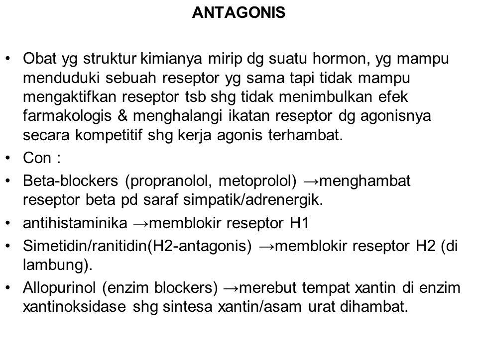 ANTAGONIS Obat yg struktur kimianya mirip dg suatu hormon, yg mampu menduduki sebuah reseptor yg sama tapi tidak mampu mengaktifkan reseptor tsb shg t