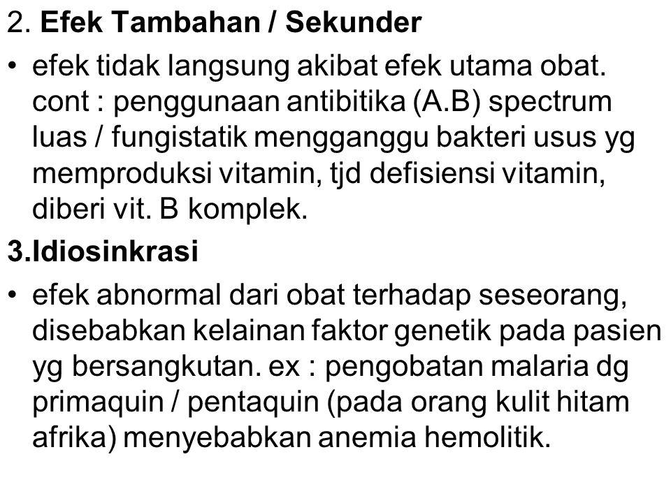 2. Efek Tambahan / Sekunder efek tidak langsung akibat efek utama obat. cont : penggunaan antibitika (A.B) spectrum luas / fungistatik mengganggu bakt