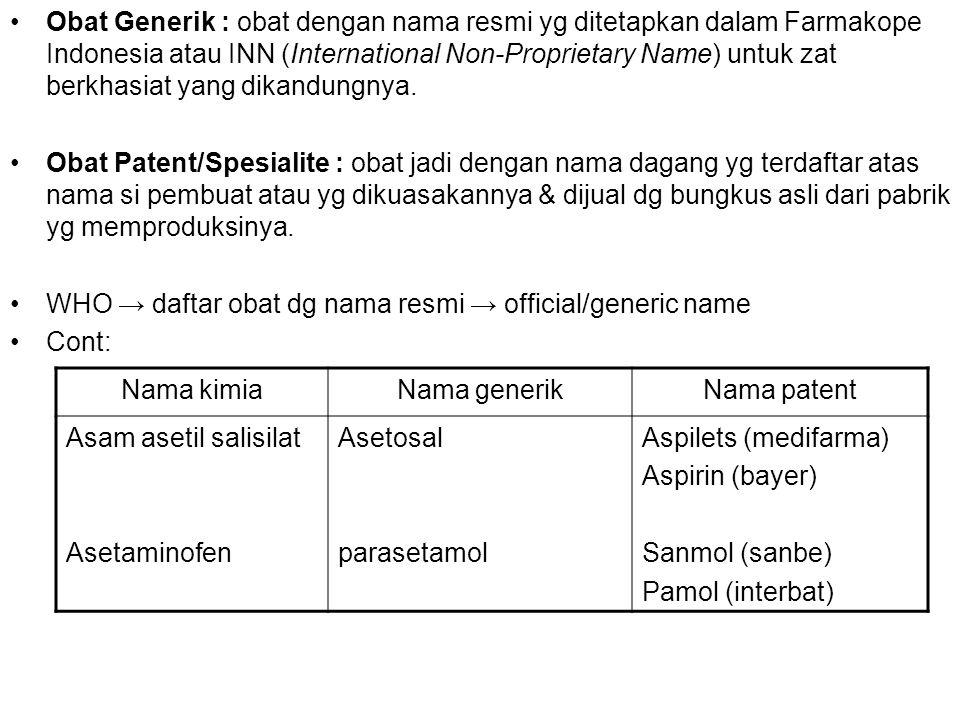 Obat Generik : obat dengan nama resmi yg ditetapkan dalam Farmakope Indonesia atau INN (International Non-Proprietary Name) untuk zat berkhasiat yang