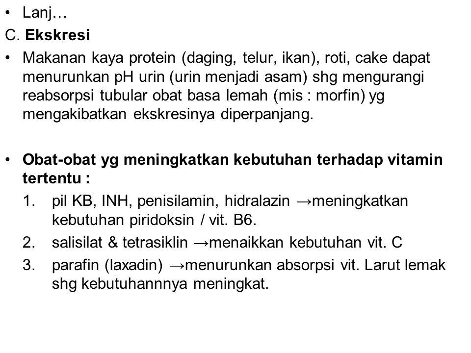 Lanj… C. Ekskresi Makanan kaya protein (daging, telur, ikan), roti, cake dapat menurunkan pH urin (urin menjadi asam) shg mengurangi reabsorpsi tubula