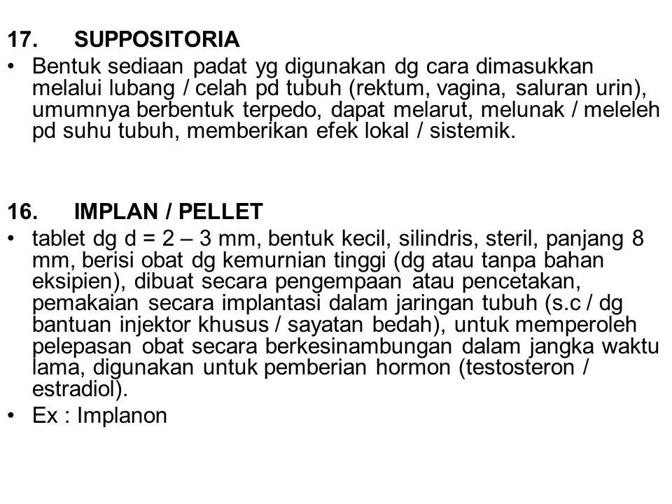 17.SUPPOSITORIA Bentuk sediaan padat yg digunakan dg cara dimasukkan melalui lubang / celah pd tubuh (rektum, vagina, saluran urin), umumnya berbentuk
