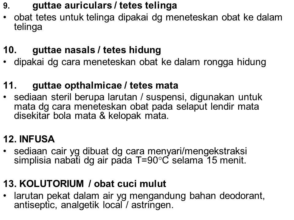 9. guttae auriculars / tetes telinga obat tetes untuk telinga dipakai dg meneteskan obat ke dalam telinga 10.guttae nasals / tetes hidung dipakai dg c