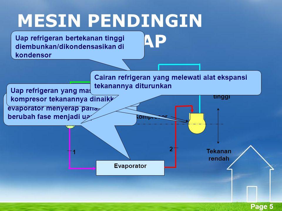 Page 5 MESIN PENDINGIN KOMPRESI UAP Kondensor Evaporator Tekanan tinggi Tekanan rendah Kompresor Alat ekspansi 1 2 3 4 Refrigeran cair bertekanan rend